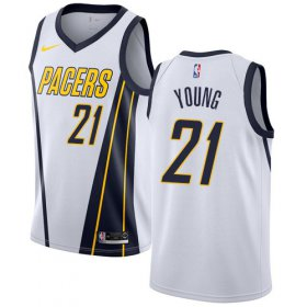 Wholesale Cheap Nike Pacers #21 Thaddeus Young White NBA Swingman Earned Edition Jersey