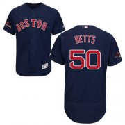 Wholesale Cheap Red Sox #50 Mookie Betts Navy Blue Flexbase Authentic Collection 2018 World Series Champions Stitched MLB Jersey