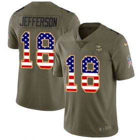 Wholesale Cheap Nike Vikings #18 Justin Jefferson Olive/USA Flag Youth Stitched NFL Limited 2017 Salute To Service Jersey