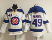 Wholesale Cheap Cubs #49 Jake Arrieta White Sawyer Hooded Sweatshirt MLB Hoodie
