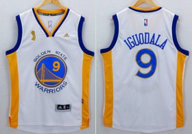 Wholesale Cheap Men\'s Golden State Warriors #9 Andre Iguodala White 2015 Championship Patch Jersey
