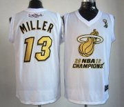 Wholesale Cheap Miami Heat #13 Mike Miller 2012 NBA Finals Champions White With Gold Jersey