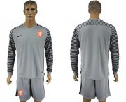 Wholesale Cheap Holland Blank Grey Goalkeeper Long Sleeves Soccer Country Jersey