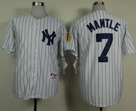 Wholesale Cheap Yankees #7 Mickey Mantle White 75TH Throwback Stitched MLB Jersey
