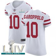 Wholesale Cheap Nike 49ers #10 Jimmy Garoppolo White Super Bowl LIV 2020 Men's Stitched NFL Vapor Untouchable Elite Jersey