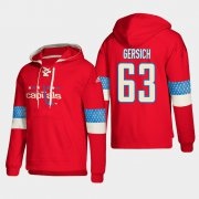 Wholesale Cheap Washington Capitals #63 Shane Gersich Red adidas Lace-Up Pullover Hoodie