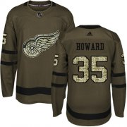 Wholesale Cheap Adidas Red Wings #35 Jimmy Howard Green Salute to Service Stitched Youth NHL Jersey