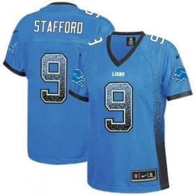 Wholesale Cheap Nike Lions #9 Matthew Stafford Light Blue Team Color Women\'s Stitched NFL Elite Drift Fashion Jersey