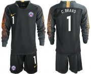 Wholesale Cheap Chile #1 C.Bravo Black Goalkeeper Long Sleeves Soccer Country Jersey
