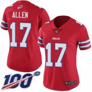 Wholesale Cheap Nike Bills #17 Josh Allen Red Women's Stitched NFL Limited Rush 100th Season Jersey