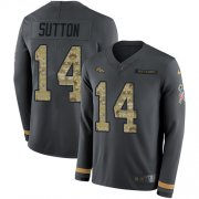 Wholesale Cheap Nike Broncos #14 Courtland Sutton Anthracite Salute to Service Youth Stitched NFL Limited Therma Long Sleeve Jersey