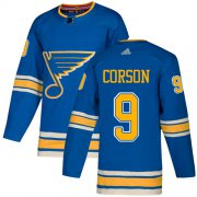 Wholesale Cheap Adidas Blues #9 Shayne Corson Light Blue Alternate Authentic Stitched NHL Jersey