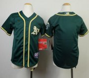 Wholesale Cheap Athletics Blank Green Cool Base Stitched Youth MLB Jersey