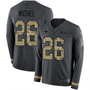 Wholesale Cheap Nike Patriots #26 Sony Michel Anthracite Salute to Service Men's Stitched NFL Limited Therma Long Sleeve Jersey
