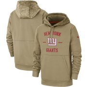 Wholesale Cheap Men's New York Giants Nike Tan 2019 Salute to Service Sideline Therma Pullover Hoodie