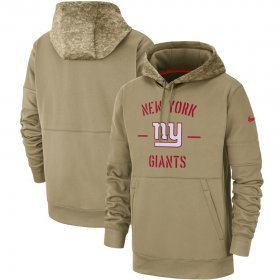 Wholesale Cheap Men\'s New York Giants Nike Tan 2019 Salute to Service Sideline Therma Pullover Hoodie