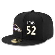 Wholesale Cheap Baltimore Ravens #52 Ray Lewis Snapback Cap NFL Player Black with White Number Stitched Hat