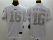 Wholesale Cheap Nike 49ers #16 Joe Montana White Men's Stitched NFL Limited Platinum Jersey