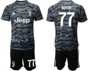Wholesale Cheap Juventus #77 Buffon Black Goalkeeper Soccer Club Jersey