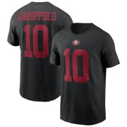 Wholesale Cheap San Francisco 49ers #10 Jimmy Garoppolo Nike Team Player Name & Number T-Shirt Black