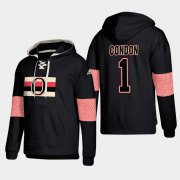 Wholesale Cheap Ottawa Senators #1 Mike Condon Black adidas Lace-Up Pullover Hoodie