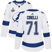 Cheap Adidas Lightning #71 Anthony Cirelli White Road Authentic Women's 2020 Stanley Cup Champions Stitched NHL Jersey