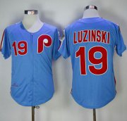 Wholesale Cheap Mitchell and Ness 1980 Phillies #19 Greg Luzinski Stitched Blue Throwback MLB Jersey
