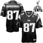 Wholesale Cheap Patriots #87 Rob Gronkowski Black Shadow Super Bowl XLVI Embroidered NFL Jersey