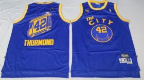 Wholesale Cheap Men\'s Golden State Warriors #42 Nate Thurmond The City Blue Hardwood Classics Soul Swingman Throwback Jersey