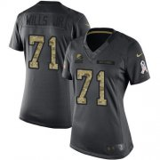 Wholesale Cheap Nike Browns #71 Jedrick Wills JR Black Women's Stitched NFL Limited 2016 Salute to Service Jersey