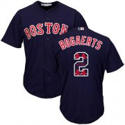 Wholesale Cheap Red Sox #2 Xander Bogaerts Navy Blue Team Logo Fashion Stitched MLB Jersey