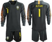 Wholesale Cheap Brazil #1 Alisson Black Goalkeeper Long Sleeves Soccer Country Jersey