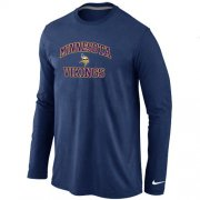 Wholesale Cheap Nike Minnesota Vikings Heart & Soul Long Sleeve T-Shirt Dark Blue