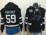 Wholesale Cheap Nike Panthers #59 Luke Kuechly Black/Blue Name & Number Pullover NFL Hoodie