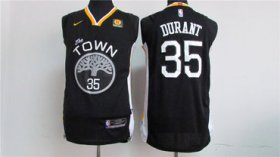 Wholesale Cheap Men\'s Golden State Warriors #35 Kevin Durant Black 2017-2018 Nike Swingman Rakuten Stitched NBA Jersey