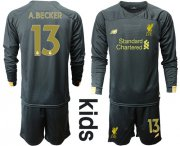 Wholesale Cheap Liverpool #13 A.Becker Black Goalkeeper Long Sleeves Kid Soccer Club Jersey