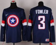 Wholesale Cheap Olympic Team USA #3 Cam Fowler Navy Blue Captain America Fashion Stitched NHL Jersey