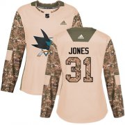 Wholesale Cheap Adidas Sharks #31 Martin Jones Camo Authentic 2017 Veterans Day Women's Stitched NHL Jersey