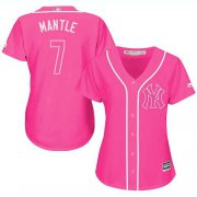 Wholesale Cheap Yankees #7 Mickey Mantle Pink Fashion Women's Stitched MLB Jersey