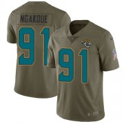 Wholesale Cheap Nike Jaguars #91 Yannick Ngakoue Olive Youth Stitched NFL Limited 2017 Salute to Service Jersey