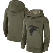 Wholesale Cheap Women's Atlanta Falcons Nike Olive Salute to Service Sideline Therma Performance Pullover Hoodie