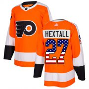 Wholesale Cheap Adidas Flyers #27 Ron Hextall Orange Home Authentic USA Flag Stitched NHL Jersey
