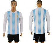 Wholesale Cheap Argentina Blank Home Long Sleeves Soccer Country Jersey