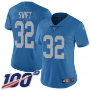 Wholesale Cheap Nike Lions #32 D'Andre Swift Blue Throwback Women's Stitched NFL 100th Season Vapor Untouchable Limited Jersey