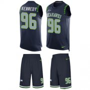 Wholesale Cheap Nike Seahawks #96 Cortez Kennedy Steel Blue Team Color Men's Stitched NFL Limited Tank Top Suit Jersey