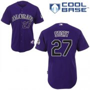 Wholesale Cheap Rockies #27 Trevor Story Purple Cool Base Stitched Youth MLB Jersey
