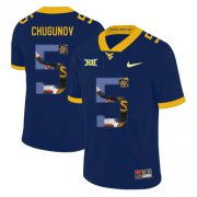 Wholesale Cheap West Virginia Mountaineers 5 Chris Chugunov Navy Fashion College Football Jersey