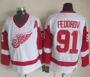 Wholesale Cheap Red Wings #91 Sergei Fedorov White CCM Throwback Stitched NHL Jersey