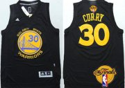 Wholesale Cheap Men's Golden State Warriors #30 Stephen Curry Black With Gold 2016 The NBA Finals Patch Jersey