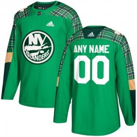 Wholesale Cheap Men\'s Adidas New York Islanders Personalized Green St. Patrick\'s Day Custom Practice NHL Jersey